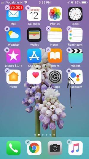 Presionar y borrar apps
