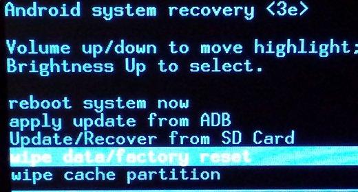restablecer datos de fábrica android