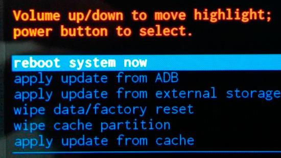 restablecer Android en sistema de recuperación