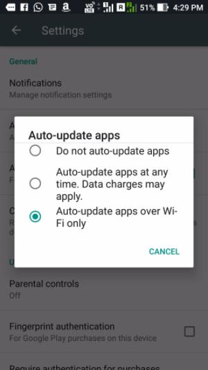 Solo actualizar apps en WiFi