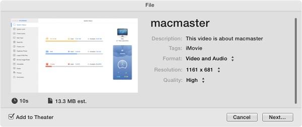 Exportar iMovie a MP4 o MOV