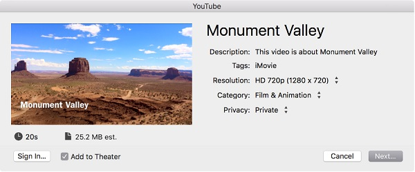 Exportar iMovie a YouTube