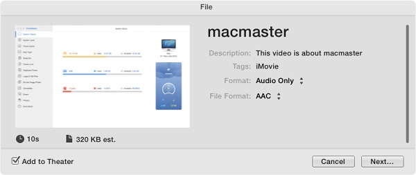 Exportar iMovie a archivo audio