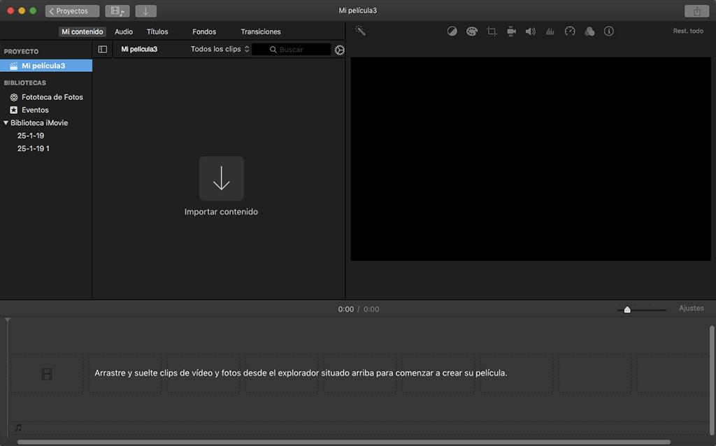 importar contenido a iMovie