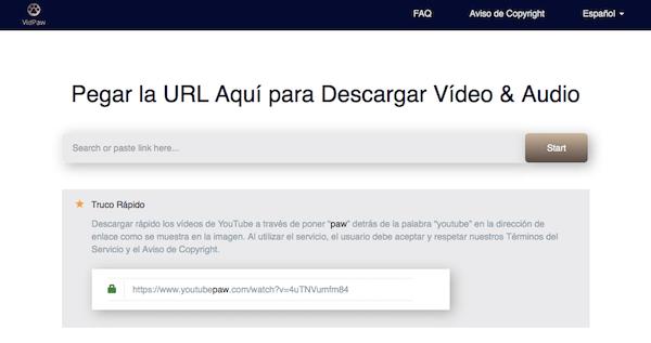 interfaz VidPaw