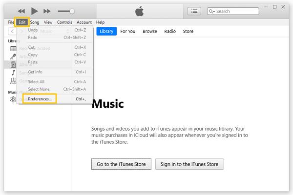 iTunes Editar Preferencias