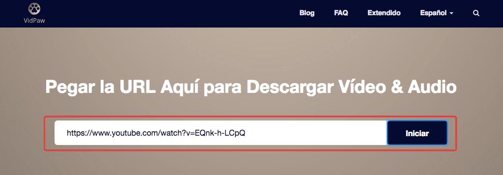 Pegar URL en VidPaw