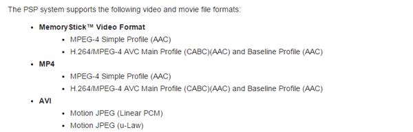 Formatos compatibles para PSP