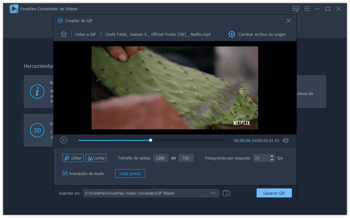 Crear un GIF desde el video